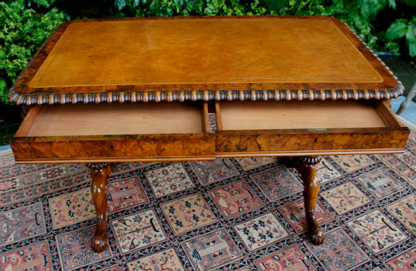 Antique Gillows Burr and Figured Walnut Writing Table