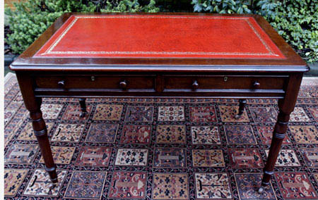 Antique Writing Table with Red Writing Leather