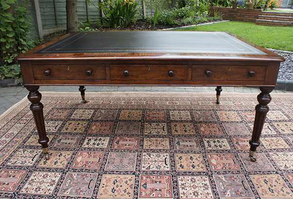 Antique Partners Library Table or Desk Black Writing Hide Top