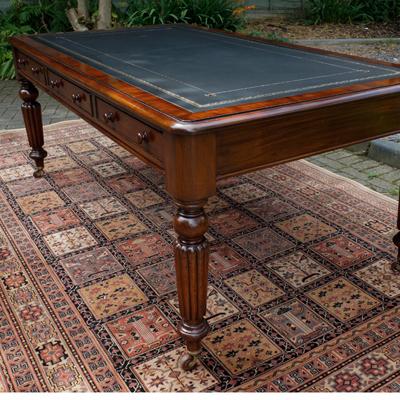 Antique Mahogany Partners Library Table Desk