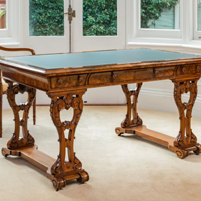 Antique Irish Walnut Library Table or Desk