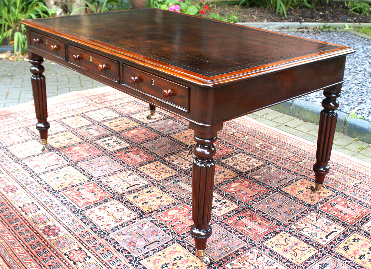 Antique George 1V Partners Library Table Or Desk