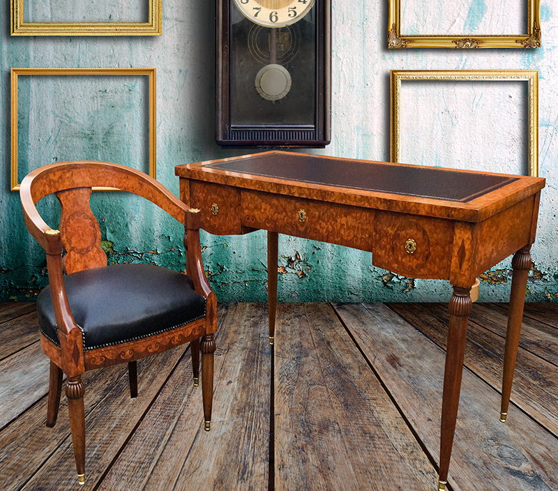 Antique French Burr Walnut Desk and Chair