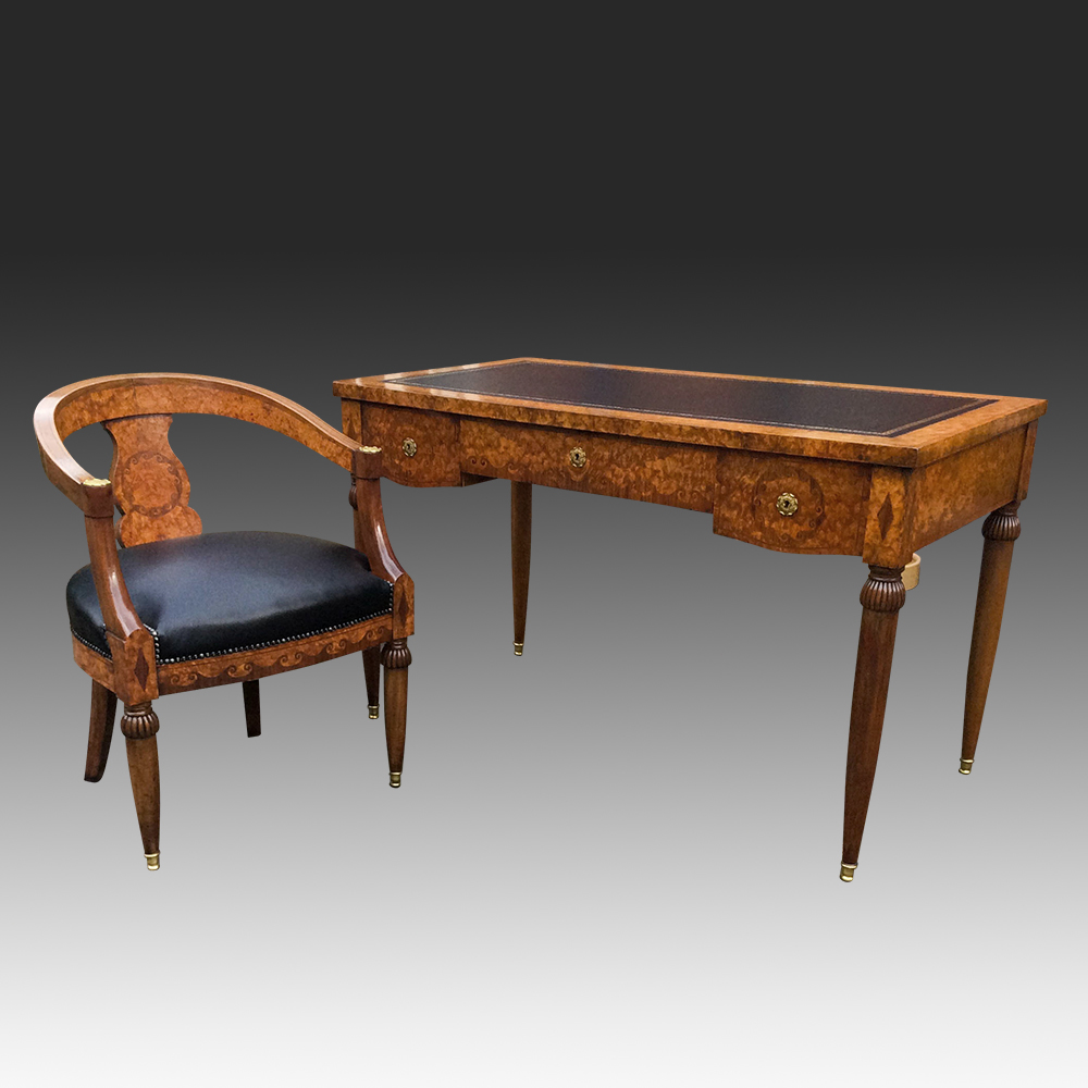 Antique French Walnut Writing Table and Chair