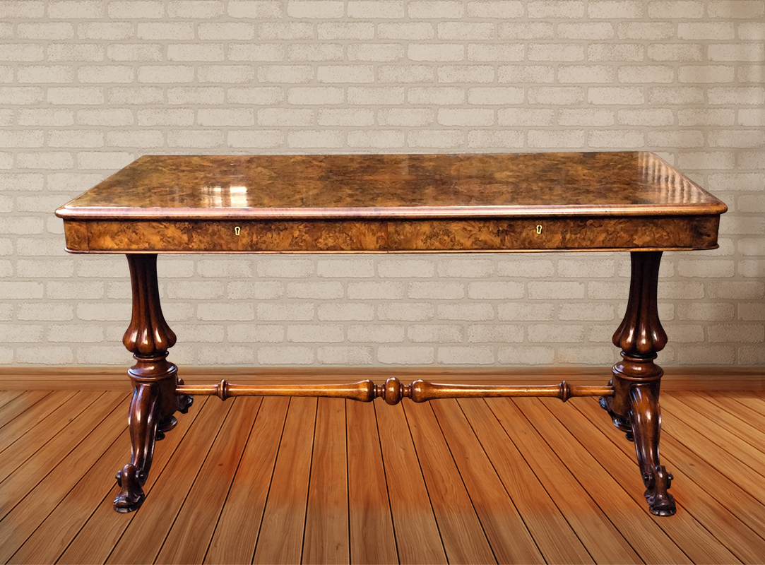 Antique Burr walnut Library Table or Sofa Table