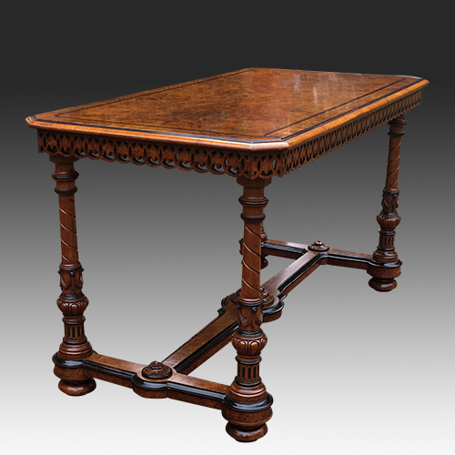 Antique Burr and Carved Walnut Library Table