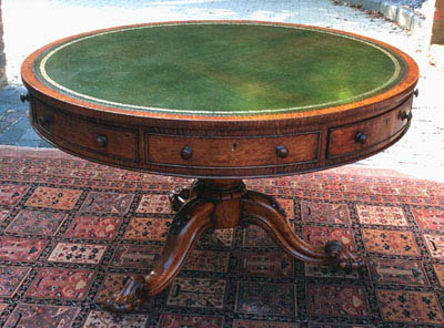 Antique Oak William 1V Drum Library Table