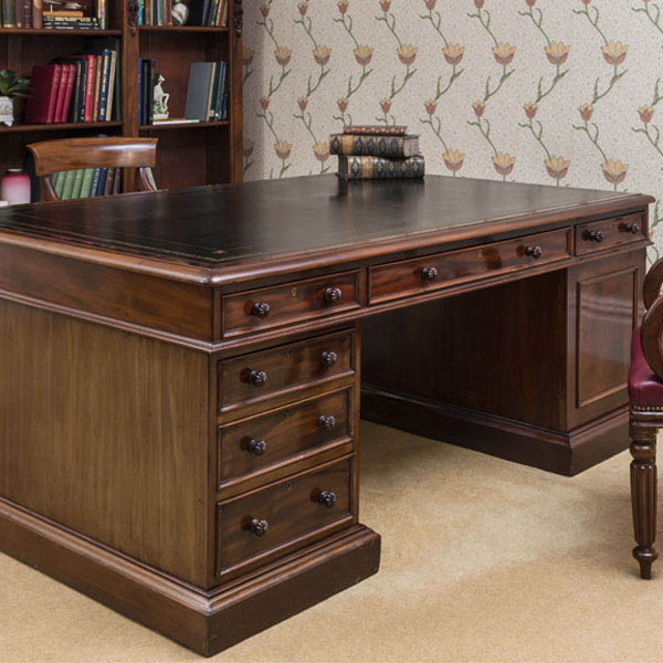 Antique Mahogany Partners Desk by Wilson