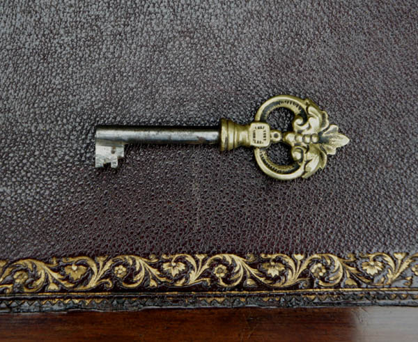 Antique Desk Leather and Old Key