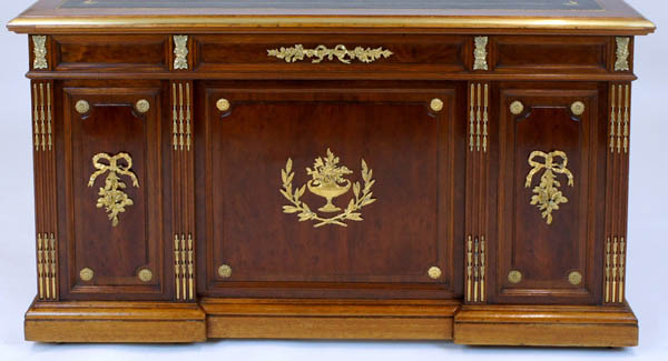 Antique French Mahogany Desk With Brass Ormalu